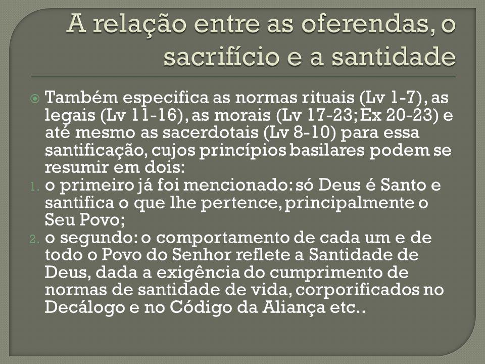 Também especifica as normas rituais (Lv 1-7), as legais (Lv 11-16), as morais (Lv 17-23; Ex 20-23) e até mesmo as sacerdotais (Lv 8-10) para essa sant