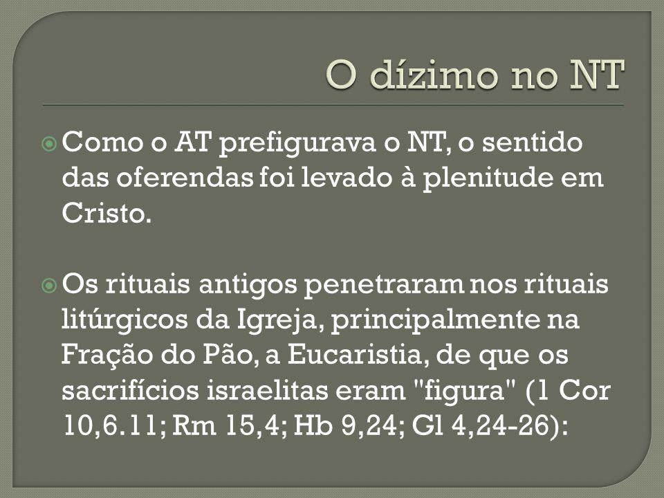 Como o AT prefigurava o NT, o sentido das oferendas foi levado à plenitude em Cristo. Os rituais antigos penetraram nos rituais litúrgicos da Igreja,