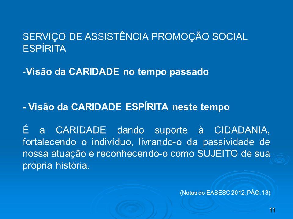 11 SERVIÇO DE ASSISTÊNCIA PROMOÇÃO SOCIAL ESPÍRITA -Visão da CARIDADE no tempo passado - Visão da CARIDADE ESPÍRITA neste tempo É a CARIDADE dando sup