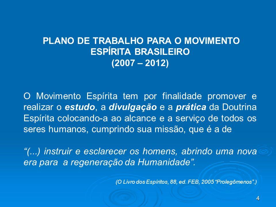 4 PLANO DE TRABALHO PARA O MOVIMENTO ESPÍRITA BRASILEIRO (2007 – 2012) O Movimento Espírita tem por finalidade promover e realizar o estudo, a divulga