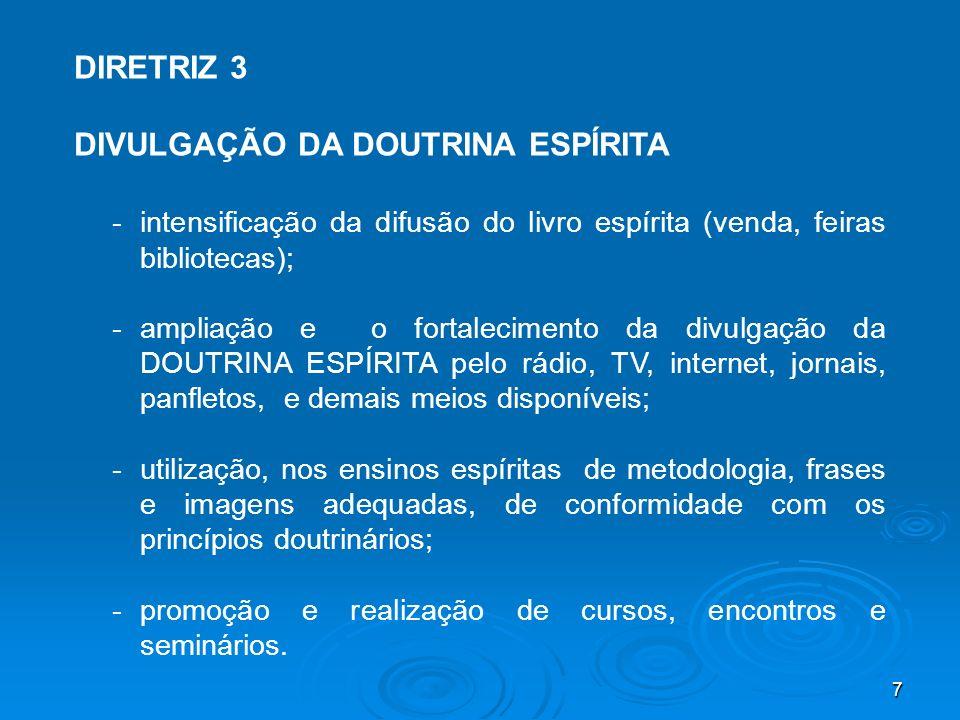 7 DIRETRIZ 3 DIVULGAÇÃO DA DOUTRINA ESPÍRITA - intensificação da difusão do livro espírita (venda, feiras bibliotecas); - ampliação e o fortalecimento