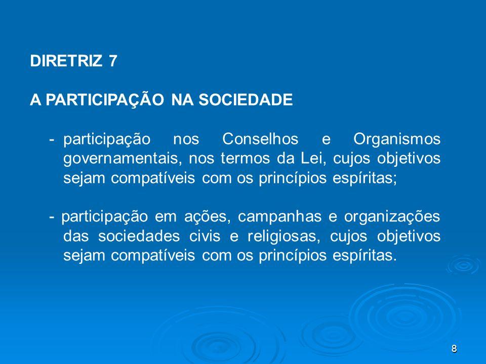 8 DIRETRIZ 7 A PARTICIPAÇÃO NA SOCIEDADE -participação nos Conselhos e Organismos governamentais, nos termos da Lei, cujos objetivos sejam compatíveis
