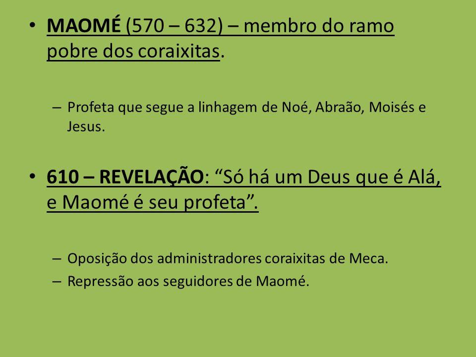 MAOMÉ (570 – 632) – membro do ramo pobre dos coraixitas. – Profeta que segue a linhagem de Noé, Abraão, Moisés e Jesus. 610 – REVELAÇÃO: Só há um Deus