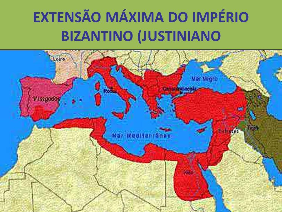 EXTENSÃO MÁXIMA DO IMPÉRIO BIZANTINO (JUSTINIANO