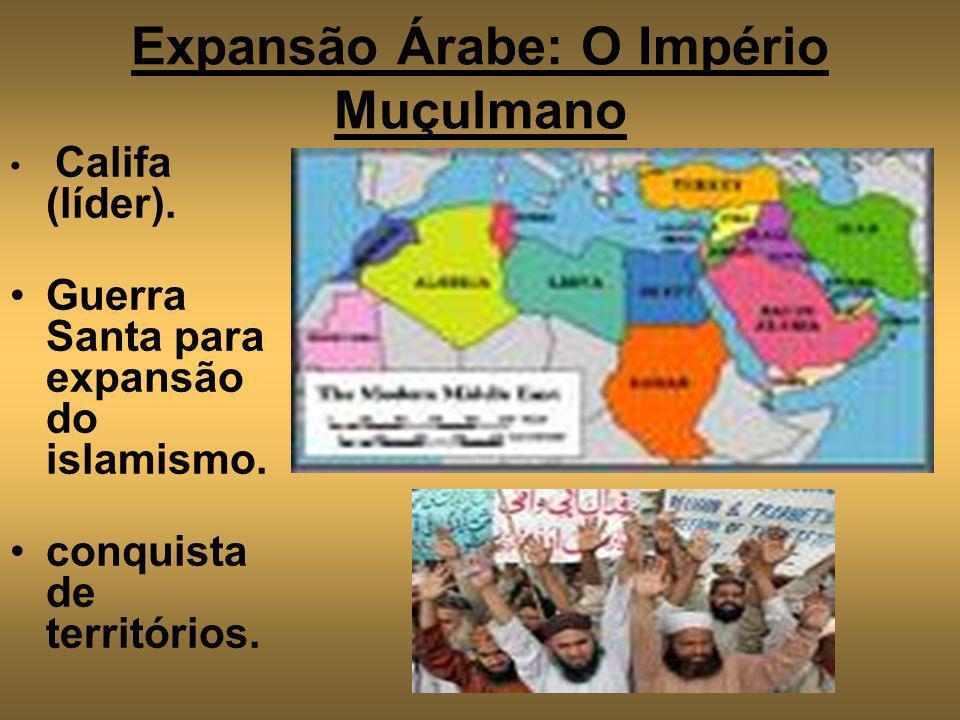 Expansão Árabe: O Império Muçulmano Califa (líder). Guerra Santa para expansão do islamismo. conquista de territórios.