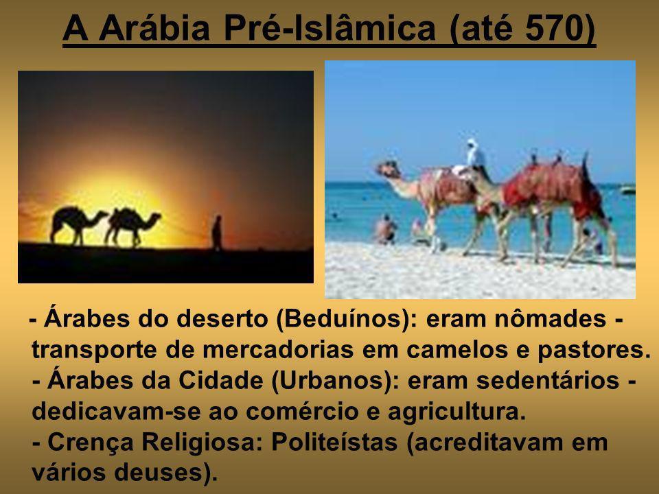 A Arábia Pré-Islâmica (até 570) - Árabes do deserto (Beduínos): eram nômades - transporte de mercadorias em camelos e pastores. - Árabes da Cidade (Ur