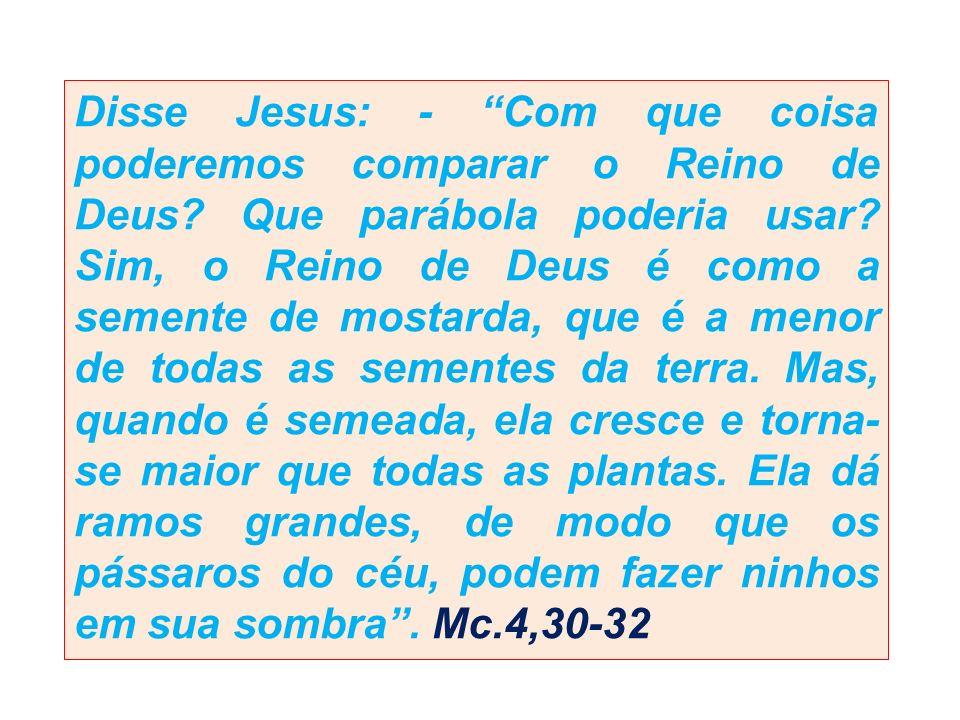 Disse Jesus: - Com que coisa poderemos comparar o Reino de Deus? Que parábola poderia usar? Sim, o Reino de Deus é como a semente de mostarda, que é a