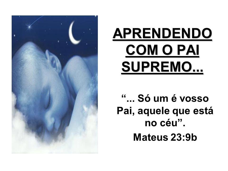 APRENDENDO COM O PAI SUPREMO...... Só um é vosso Pai, aquele que está no céu. Mateus 23:9b
