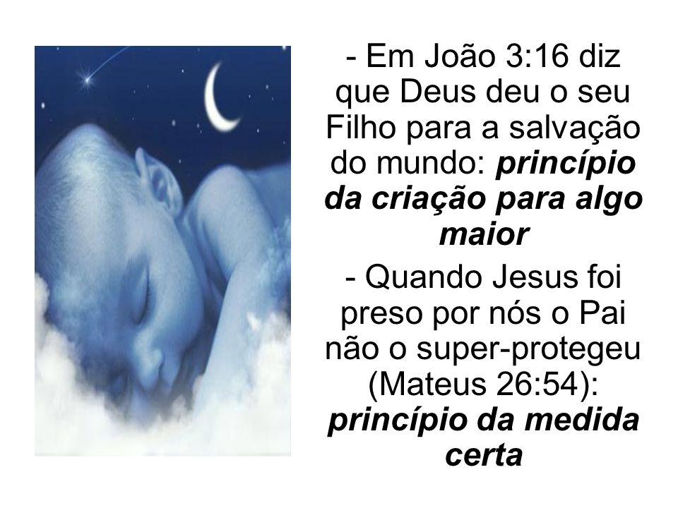 - Em João 3:16 diz que Deus deu o seu Filho para a salvação do mundo: princípio da criação para algo maior - Quando Jesus foi preso por nós o Pai não