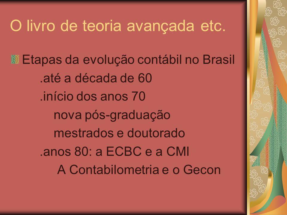 O livro de teoria avançada etc Etapas do desenvolvimento contábil no Brasil.Anos 90 e Início do Séc.XXI A Harmonização Internacional Os Escândalos Contábeis Busca da Excelência no Ensino e na Pesquisa: A Teoria Positiva