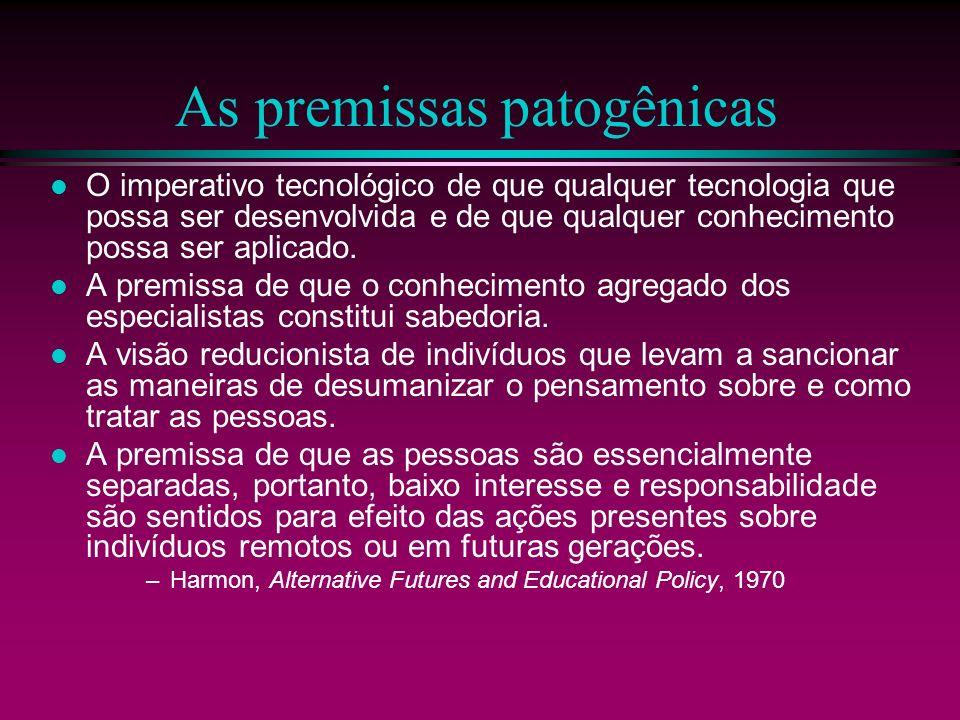 As premissas patogênicas O imperativo tecnológico de que qualquer tecnologia que possa ser desenvolvida e de que qualquer conhecimento possa ser aplic