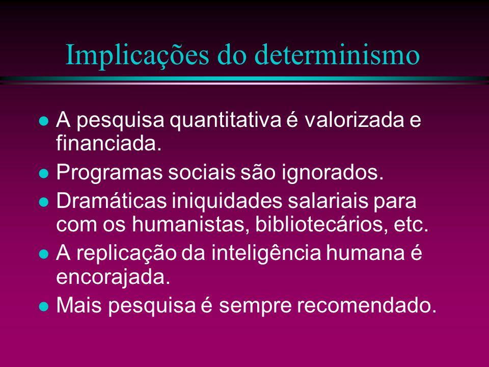 Implicações do determinismo A pesquisa quantitativa é valorizada e financiada. Programas sociais são ignorados. Dramáticas iniquidades salariais para
