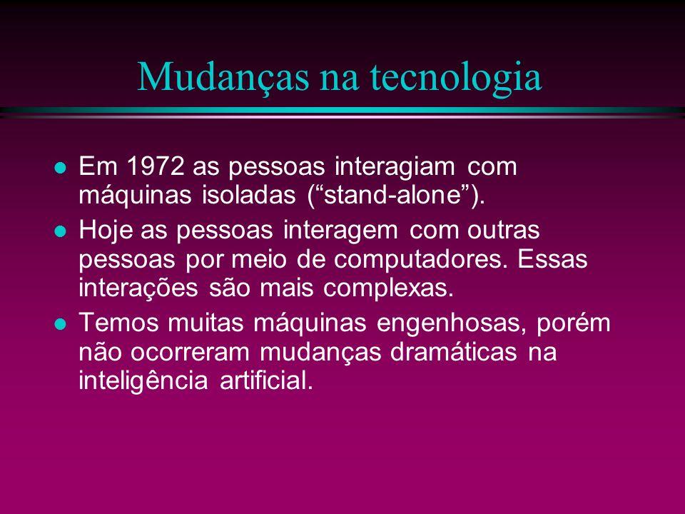 Mudanças na tecnologia Em 1972 as pessoas interagiam com máquinas isoladas (stand-alone). Hoje as pessoas interagem com outras pessoas por meio de com