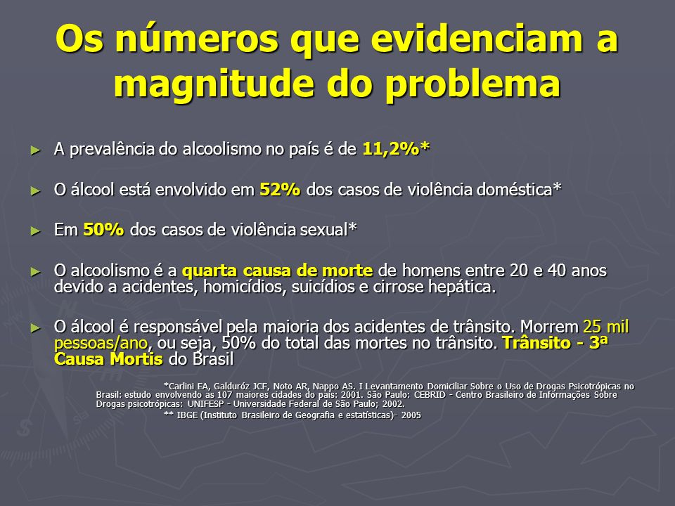 Estudo com amostra sangüínea In 2002: the prevalence of alcoholemia in patients admitted to the Clinicas Hospital Emergency Surgery Room, showed that 26% of cases (CI 95% 21.3-31.3) tested positive in blood samples taken from a total of 247 cases which comprised victims of road-traffic accidents, aggression and falls.