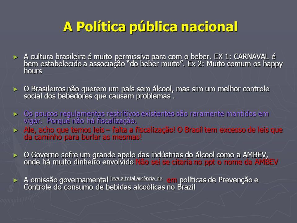 A Política pública nacional A Política pública nacional A cultura brasileira é muito permissiva para com o beber. EX 1: CARNAVAL é bem estabelecido a