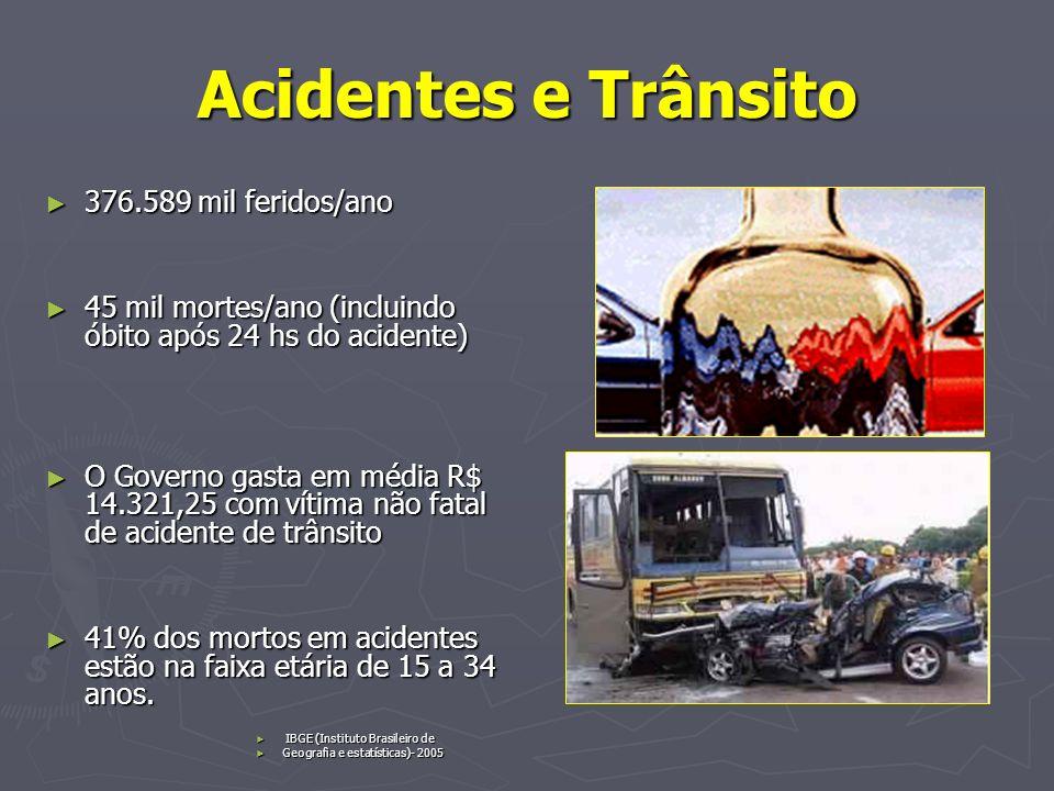 Acidentes e Trânsito 376.589 mil feridos/ano 376.589 mil feridos/ano 45 mil mortes/ano (incluindo óbito após 24 hs do acidente) 45 mil mortes/ano (inc