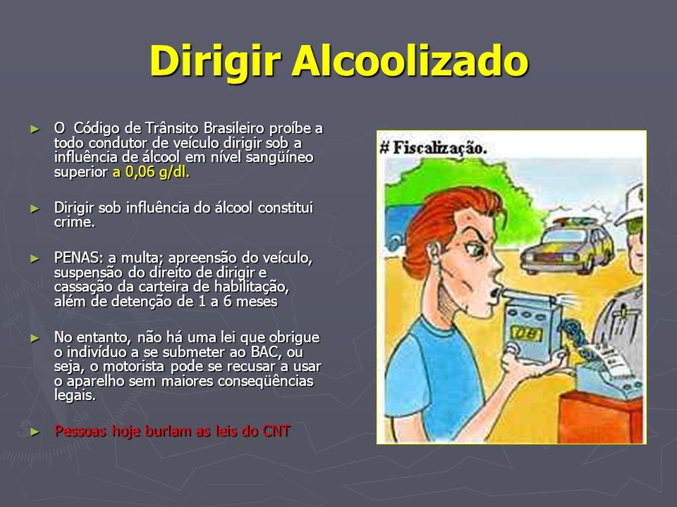 Dirigir Alcoolizado O Código de Trânsito Brasileiro proíbe a todo condutor de veículo dirigir sob a influência de álcool em nível sangüíneo superior a