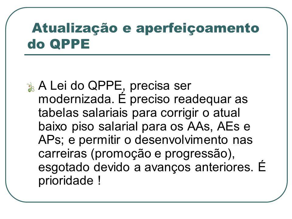 Atualização e aperfeiçoamento do QPPE A Lei do QPPE, precisa ser modernizada.