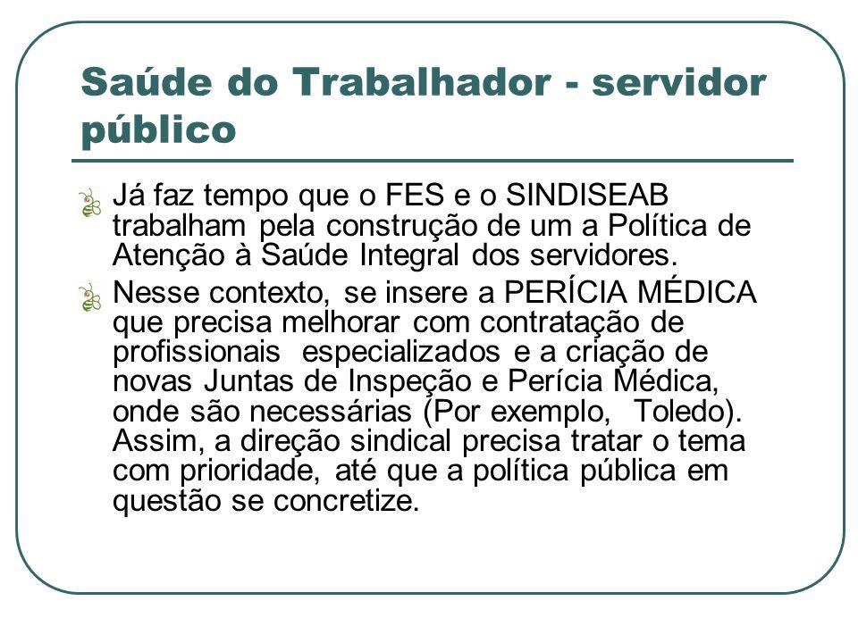 Saúde do Trabalhador - servidor público Já faz tempo que o FES e o SINDISEAB trabalham pela construção de um a Política de Atenção à Saúde Integral dos servidores.