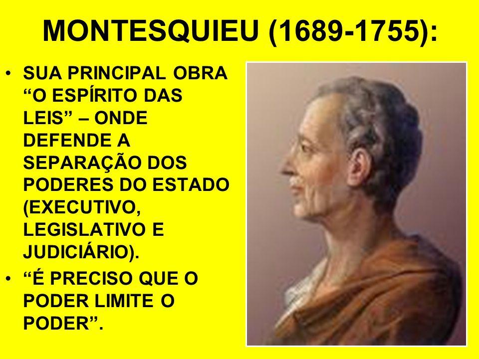 MONTESQUIEU (1689-1755): SUA PRINCIPAL OBRA O ESPÍRITO DAS LEIS – ONDE DEFENDE A SEPARAÇÃO DOS PODERES DO ESTADO (EXECUTIVO, LEGISLATIVO E JUDICIÁRIO)