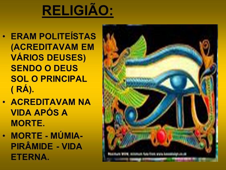 RELIGIÃO: ERAM POLITEÍSTAS (ACREDITAVAM EM VÁRIOS DEUSES) SENDO O DEUS SOL O PRINCIPAL ( RÁ). ACREDITAVAM NA VIDA APÓS A MORTE. MORTE - MÚMIA- PIRÂMID