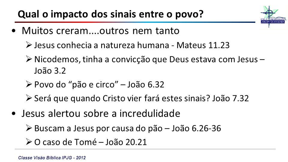 Classe Visão Bíblica IPJG - 2012 Qual o impacto dos sinais entre o povo? Muitos creram....outros nem tanto Jesus conhecia a natureza humana - Mateus 1
