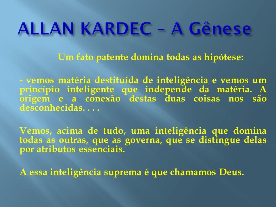 Um fato patente domina todas as hipótese: - vemos matéria destituída de inteligência e vemos um princípio inteligente que independe da matéria. A orig