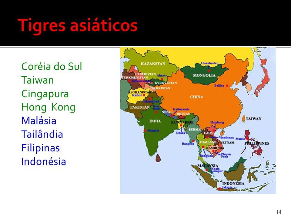 Coréia do Sul Taiwan Cingapura Hong Kong Malásia Tailândia Filipinas Indonésia 14