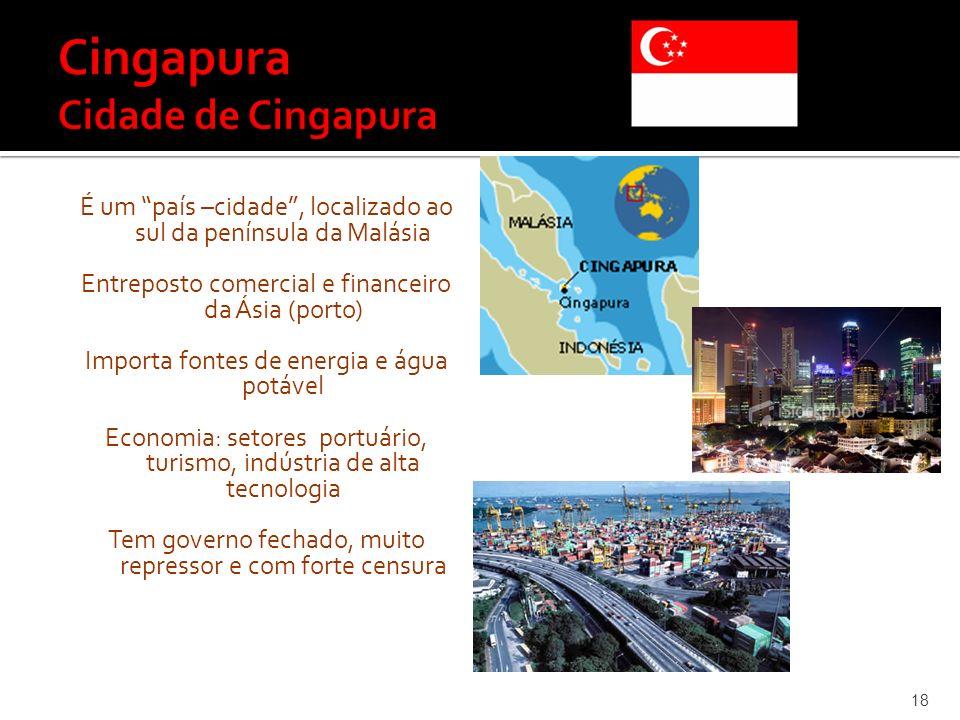 É um país –cidade, localizado ao sul da península da Malásia Entreposto comercial e financeiro da Ásia (porto) Importa fontes de energia e água potáve