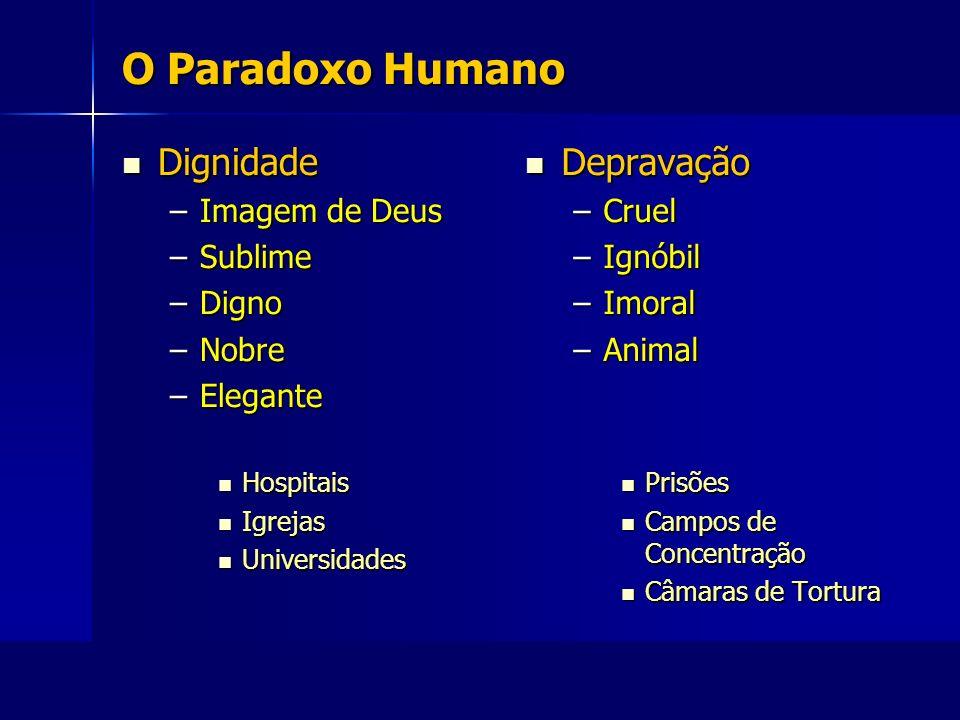 O Paradoxo Humano Dignidade Dignidade –Imagem de Deus –Sublime –Digno –Nobre –Elegante Hospitais Hospitais Igrejas Igrejas Universidades Universidades