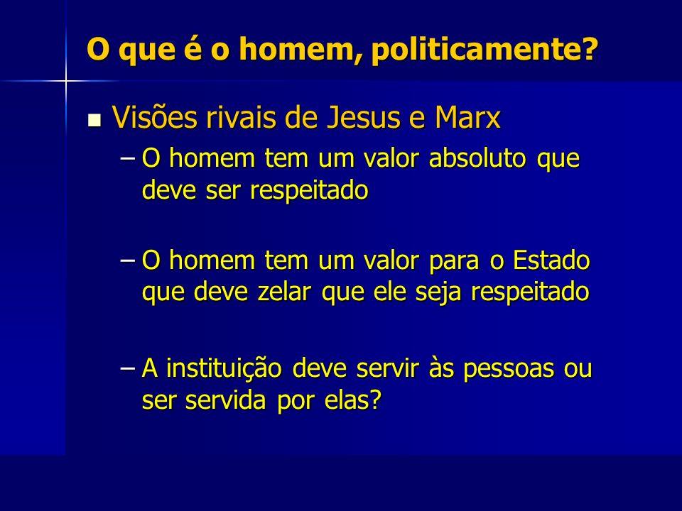 O que é o homem, politicamente? Visões rivais de Jesus e Marx Visões rivais de Jesus e Marx –O homem tem um valor absoluto que deve ser respeitado –O