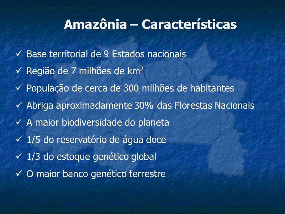 Amazônia – Características Base territorial de 9 Estados nacionais Região de 7 milhões de km 2 População de cerca de 300 milhões de habitantes Abriga