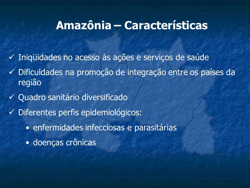Amazônia – Características Iniqüidades no acesso às ações e serviços de saúde Dificuldades na promoção de integração entre os países da região Quadro