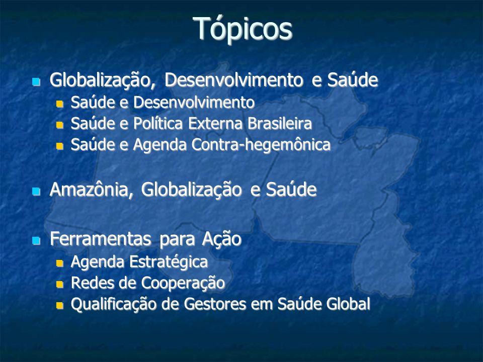Tópicos Globalização, Desenvolvimento e Saúde Globalização, Desenvolvimento e Saúde Saúde e Desenvolvimento Saúde e Desenvolvimento Saúde e Política E