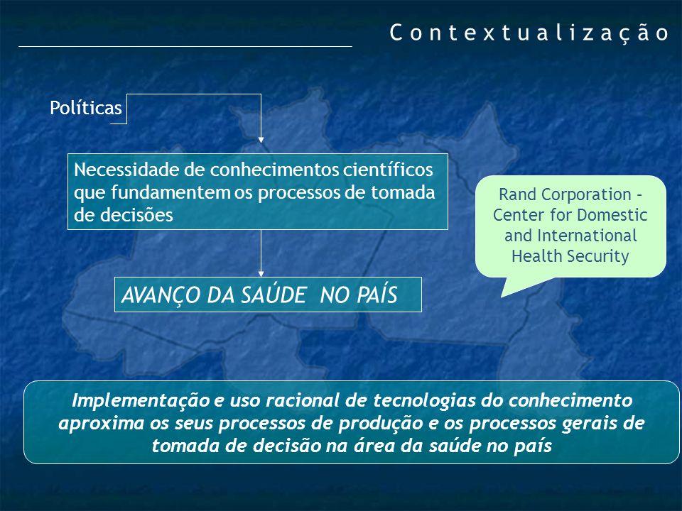 Políticas Necessidade de conhecimentos científicos que fundamentem os processos de tomada de decisões AVANÇO DA SAÚDE NO PAÍS Rand Corporation – Cente