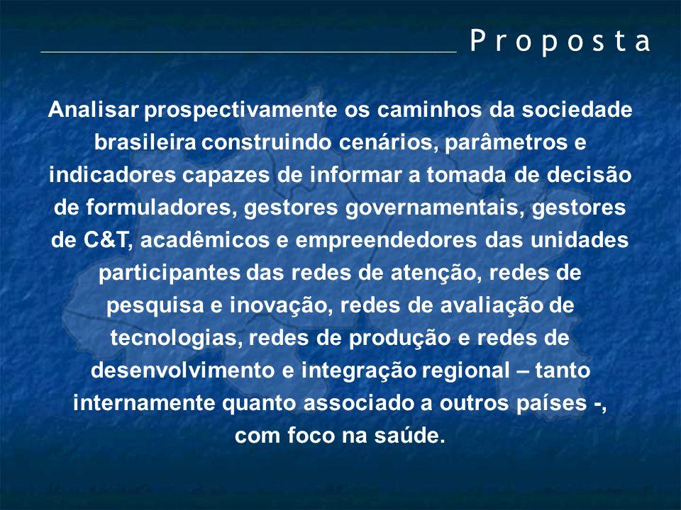 P r o p o s t a Analisar prospectivamente os caminhos da sociedade brasileira construindo cenários, parâmetros e indicadores capazes de informar a tom