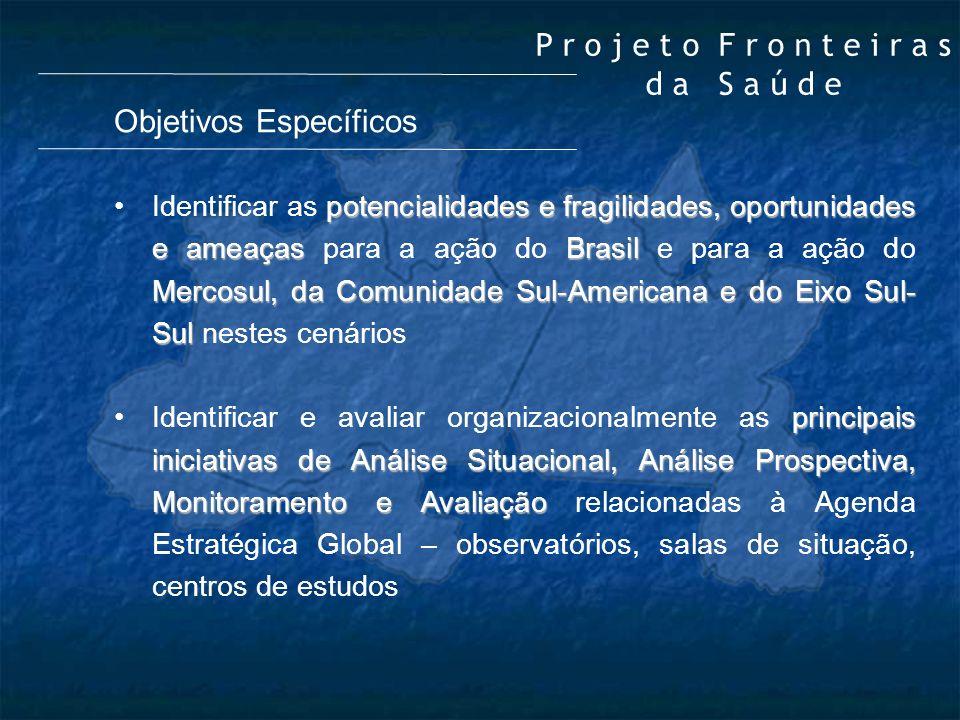 Objetivos Específicos potencialidades e fragilidades, oportunidades e ameaçasBrasil Mercosul, da Comunidade Sul-Americana e do Eixo Sul- SulIdentifica