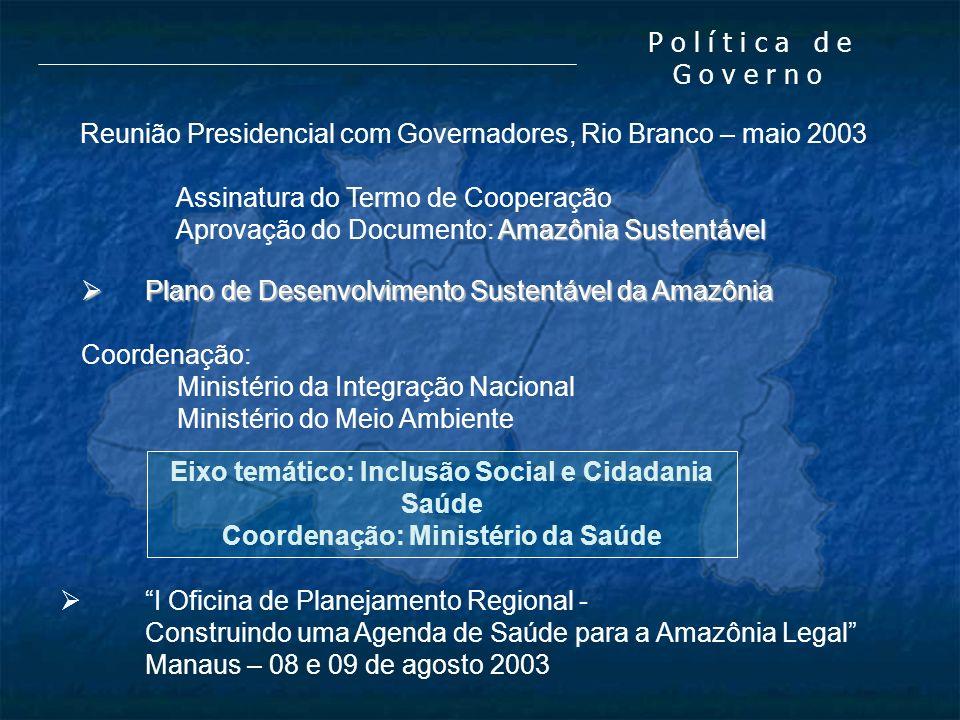 P o l í t i c a d e G o v e r n o Reunião Presidencial com Governadores, Rio Branco – maio 2003 Assinatura do Termo de Cooperação Amazônia Sustentável