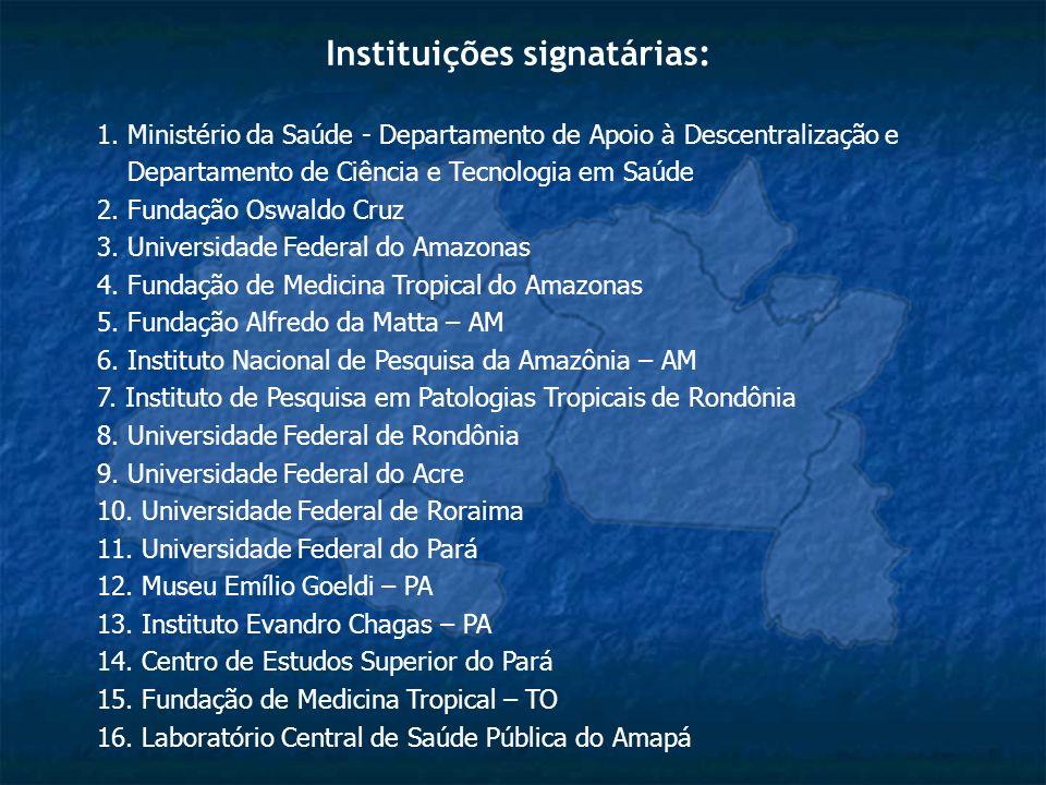 Instituições signatárias: 1. Ministério da Saúde - Departamento de Apoio à Descentralização e Departamento de Ciência e Tecnologia em Saúde 2. Fundaçã