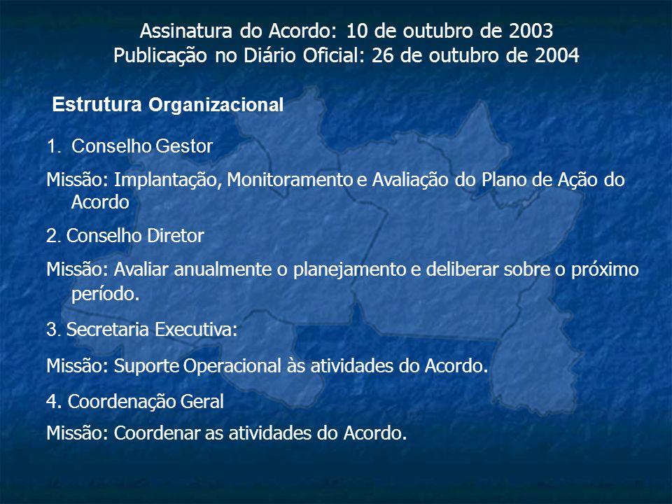 Estrutura Organizacional 1.Conselho Gestor Missão: Implantação, Monitoramento e Avaliação do Plano de Ação do Acordo 2. Conselho Diretor Missão: Avali