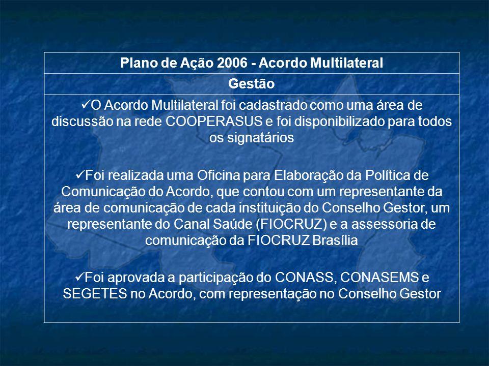 Plano de Ação 2006 - Acordo Multilateral Gestão O Acordo Multilateral foi cadastrado como uma área de discussão na rede COOPERASUS e foi disponibiliza