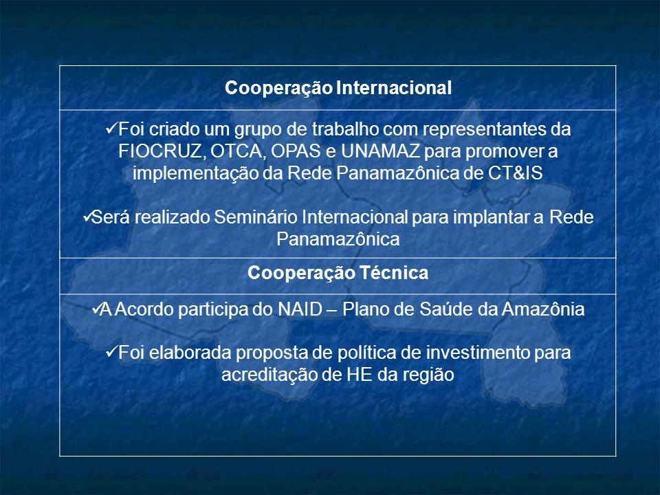 Cooperação Técnica A Acordo participa do NAID – Plano de Saúde da Amazônia Foi elaborada proposta de política de investimento para acreditação de HE d