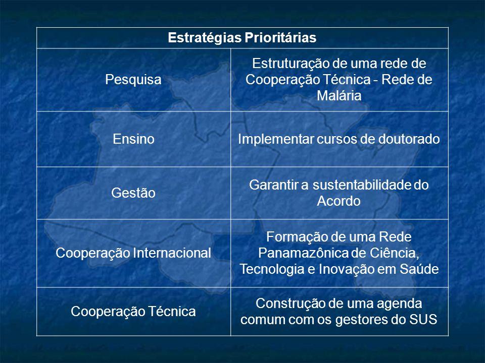Estratégias Prioritárias Pesquisa Estruturação de uma rede de Cooperação Técnica - Rede de Malária EnsinoImplementar cursos de doutorado Gestão Garant