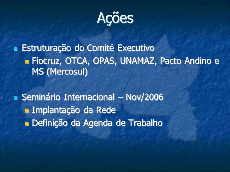 Ações Estruturação do Comitê Executivo Estruturação do Comitê Executivo Fiocruz, OTCA, OPAS, UNAMAZ, Pacto Andino e MS (Mercosul) Fiocruz, OTCA, OPAS,