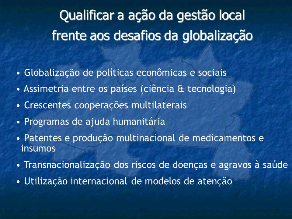 Qualificar a ação da gestão local frente aos desafios da globalização Globalização de políticas econômicas e sociais Assimetria entre os países (ciênc