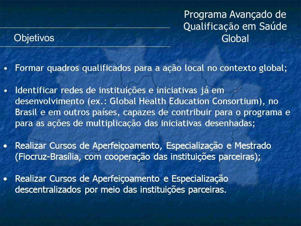 Formar quadros qualificados para a ação local no contexto global; Identificar redes de instituições e iniciativas já em desenvolvimento (ex.: Global H