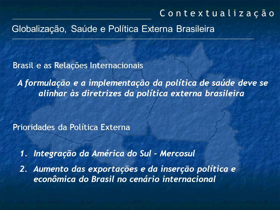 Globalização, Saúde e Política Externa Brasileira Brasil e as Relações Internacionais A formulação e a implementação da política de saúde deve se alin