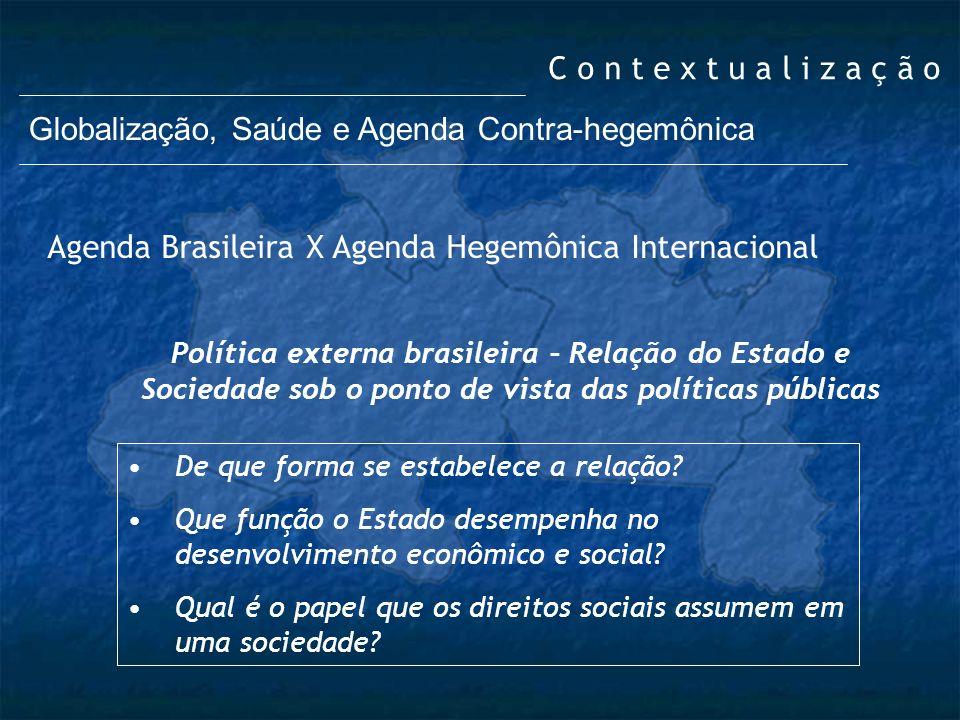 C o n t e x t u a l i z a ç ã o Globalização, Saúde e Agenda Contra-hegemônica Política externa brasileira – Relação do Estado e Sociedade sob o ponto
