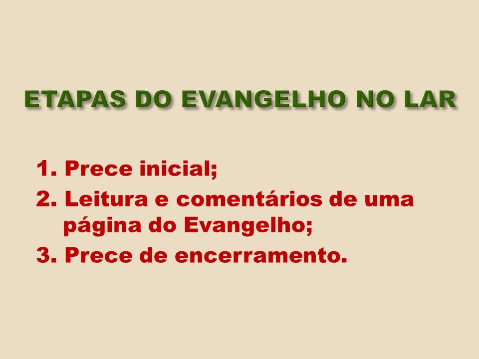 1. Prece inicial; 2. Leitura e comentários de uma página do Evangelho; 3. Prece de encerramento.