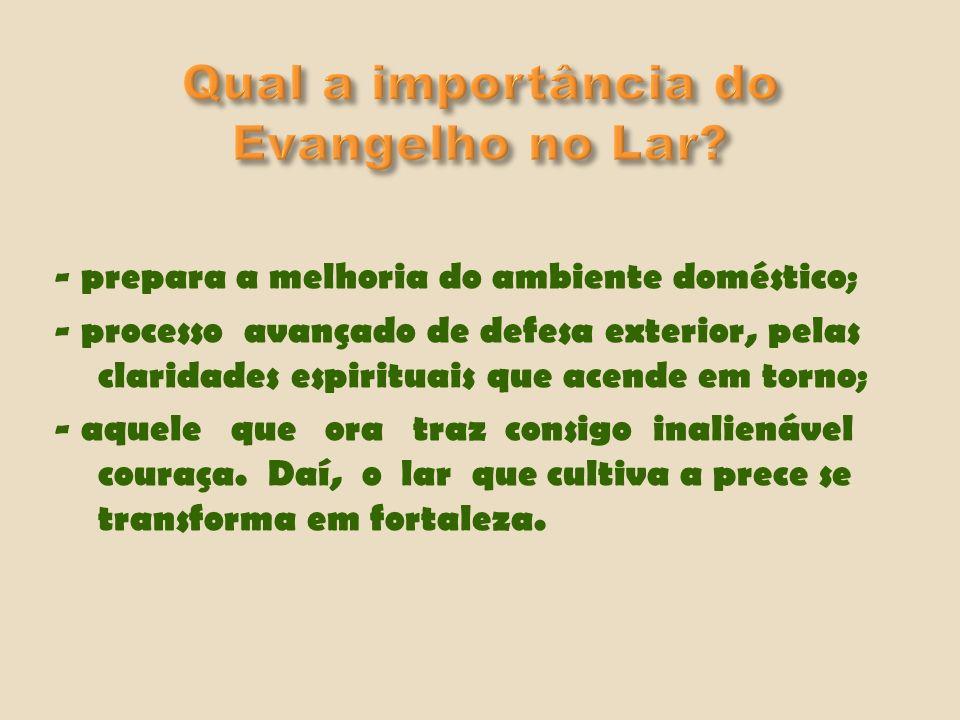 - O Evangelho Segundo o Espiritismo; - Evangelho em Casa; - Pão Nosso, Fonte Viva; - outras páginas evangélicas.